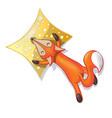 cute cartoon sleeping fox with pillow isolated on vector image