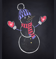 cute snowman wearing knitted hat vector image