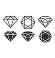 diamond icon set vector image vector image