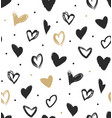 doodle hearts in black and gold seamless pattern vector image vector image