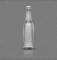 empty transparent beer or water bottle realistic vector image vector image