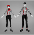 female and male mime costume realistic vector image vector image