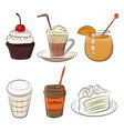 food cafe set vector image vector image