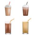 fresh ice coffee icon set realistic style vector image