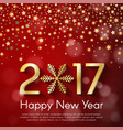 golden new year 2017 concept on red blurry vector image vector image