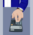 hand of businessman typing on calculator device vector image vector image