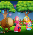 happy people celebrating eid mubarak in park vector image vector image