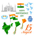 india independence day set of objects celebration vector image