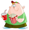 kid with popcorn and soda vector image vector image