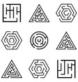 maze icon set vector image vector image