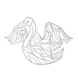 monochrome hand drawn zentagle of swan Coloring vector image