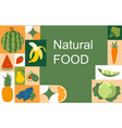 natural colorful food banner on green background vector image
