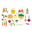 organic food icons set vector image vector image