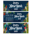 poster happy new year 2018 calligraphy lettering vector image