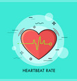 red heart and heartbeat rate rhythm or vector image