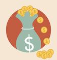 Saving money bag with money coin Modern Flat vector image