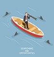 searching for opportunities isometric flat vector image