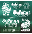 set fishing labels in retro style vector image