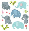 Set funny elephants vector image vector image
