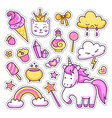 set of cute cartoon stickers patches badges vector image