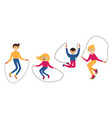 set with family jumping with the jump rope vector image vector image