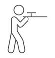 shooting thin line icon hunting and shotgun man vector image vector image