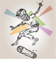 skeleton skater on abstract background vector image vector image
