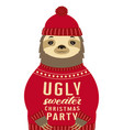 sloth in sweater vector image vector image