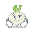 smirking turnip character cartoon style vector image vector image