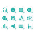 stylized music and sound icons vector image vector image