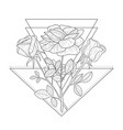 triangle with rose flowers hand drawn monochrome vector image vector image