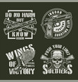 vintage military badges set vector image vector image