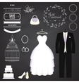 Wedding dresse and groom suit with different vector image vector image