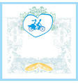 wedding invitation with bride and groom riding vector image