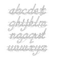 white neon lowercase script font vector image
