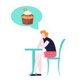 woman on diet dreaming tasty cake unhealthy vector image