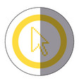 sticker yellow circular frame with pixelated vector image