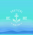 nautical logo with thin line anchor for yacht club vector image