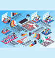 airplane travel isometric infographics vector image vector image