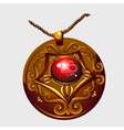 Ancient Golden amulet pendant with red stone vector image vector image