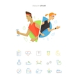 Athletic man and woman symbol icon vector image