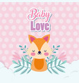 bashower love cute fox with leaves clouds vector image vector image