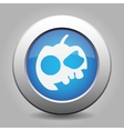 Blue metallic button White pumpkin icon vector image vector image