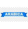 blue ribbon with arabica caption