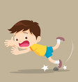 boy falling stumble tripping over stone vector image