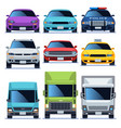 car front view icons set vehicles driving auto vector image vector image