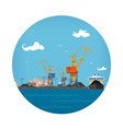 cargo sea port icon vector image vector image