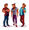 cartoon arab hipsters with tattoos trendy vector image