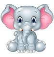 Cartoon funny baby elephant sitting isolated on wh vector image vector image