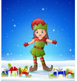 cartoon girl wearing elf costume in the winter bac vector image vector image